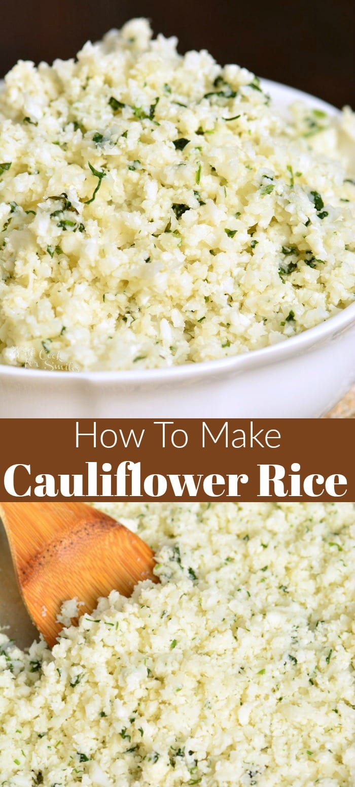 Cauliflower rice a healthier alternative to many side dishes. This delicious side is ready in a just a few minutes and can be easily made ahead of time. This cauliflower rice is made with garlic, herbs, and Parmesan cheese. #sidedish #sides #cauliflower #healthyside #healthyrecipe