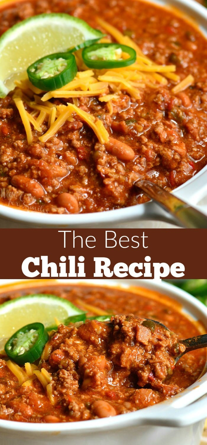 The BEST Chili Recipe. This is an amazing chili made with bacon, ground beef, vegetables, beans, and tasty combination of spices to make chili seasoning. #chili #beef #dinner #groundbeef