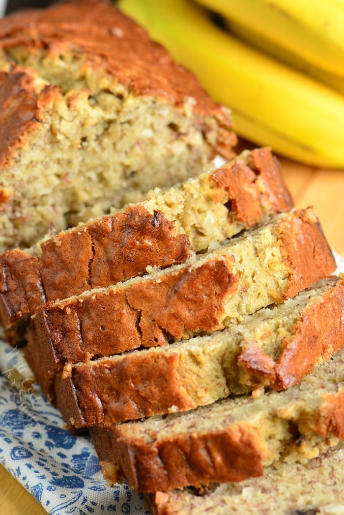 Banana Bread with Coconut. Soft, moist, and super easy banana bread made with tropical flavor addition of coconut. This delicious bread makes a great snack. #bread #sweetbread #easybread #bananabread #quickbread #coconut