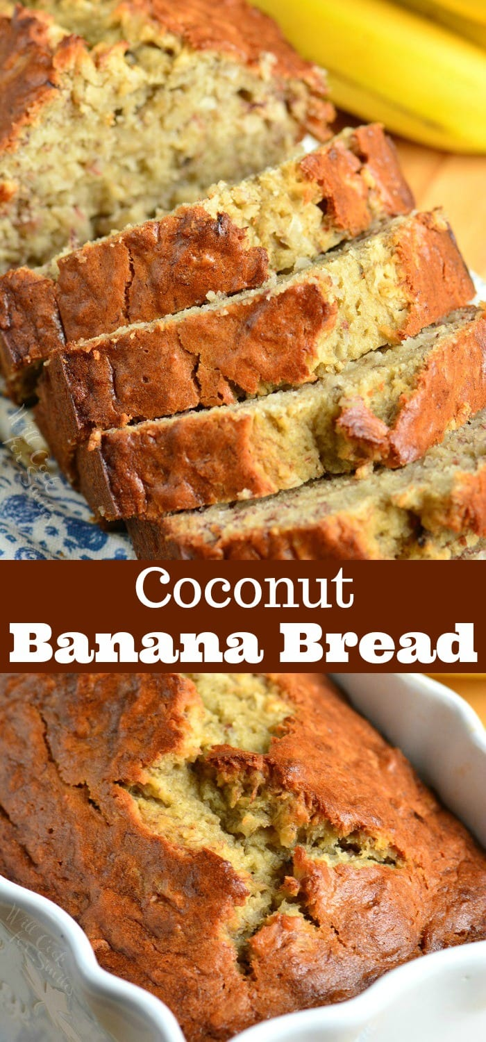 Coconut Banana Bread collage