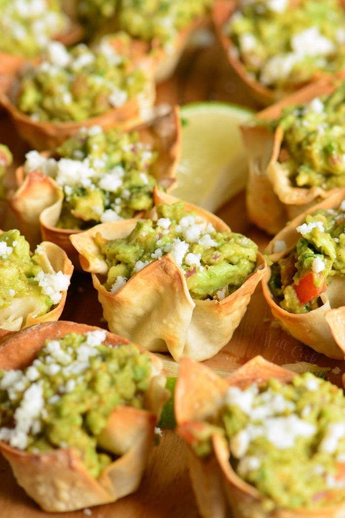 Guacamole in Crispy Cups on a cutting board