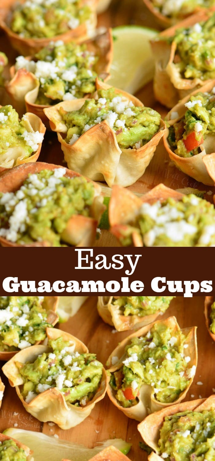 Guacamole Cups. Simple and tasty party appetizer. They are made with wonton wrappers, filled with homemade guacamole and topped with crumbled Cotija cheese. #appetizer #snack #avocado #guacamole #individual