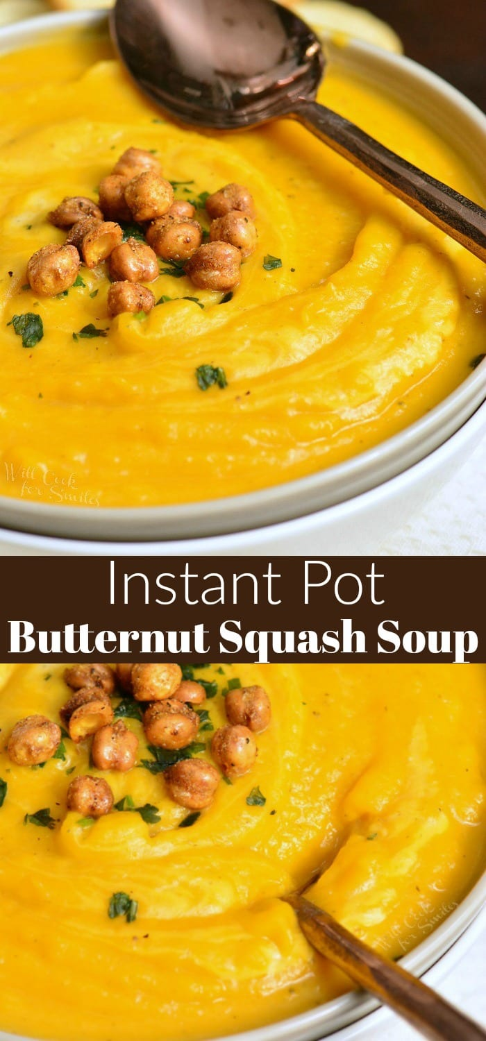 Butternut Squash Soup is smooth, creamy, and so satisfying. This soup is easily made in an Instant Pot and ready in just 30 minutes. #soup #butternutsquash #squash #vegetablesoup