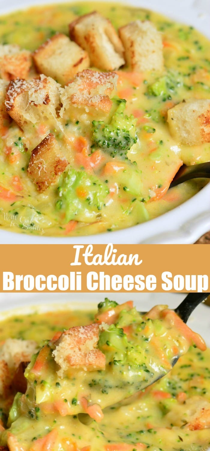 Italian Broccoli Cheese Soup. A combination of Mozzarella cheese, Italian cheese mix, and grated Parmesan cheese, parsley, and oregano to give it that Italian twist. #soup #broccoli #broccolicheese #cheesesoup