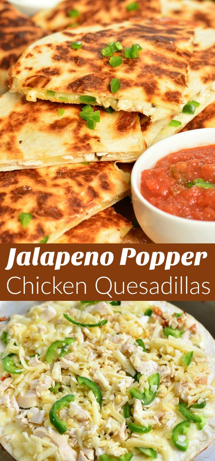Jalapeno Popper Chicken Quesadillas are easily made with only 4 ingredients and within 30 minutes. This Quesadilla recipe is packed withmelted cheese, tender rotisserie chicken, and spicy jalapenos, all stuffed in a crunchy flour tortilla. #chicken #appetizer #snack #quesadillas