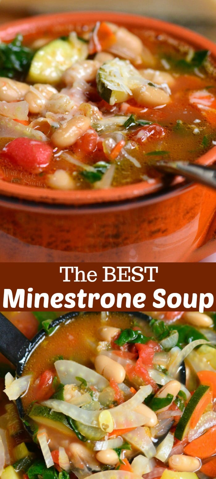 Minestrone Soup in a bowl with a spoon and bottom picture with a ladle collage