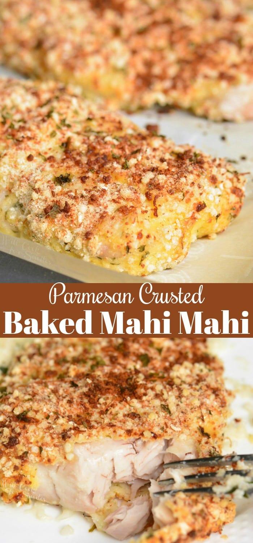 Parmesan Crusted Mahi Mahi collage