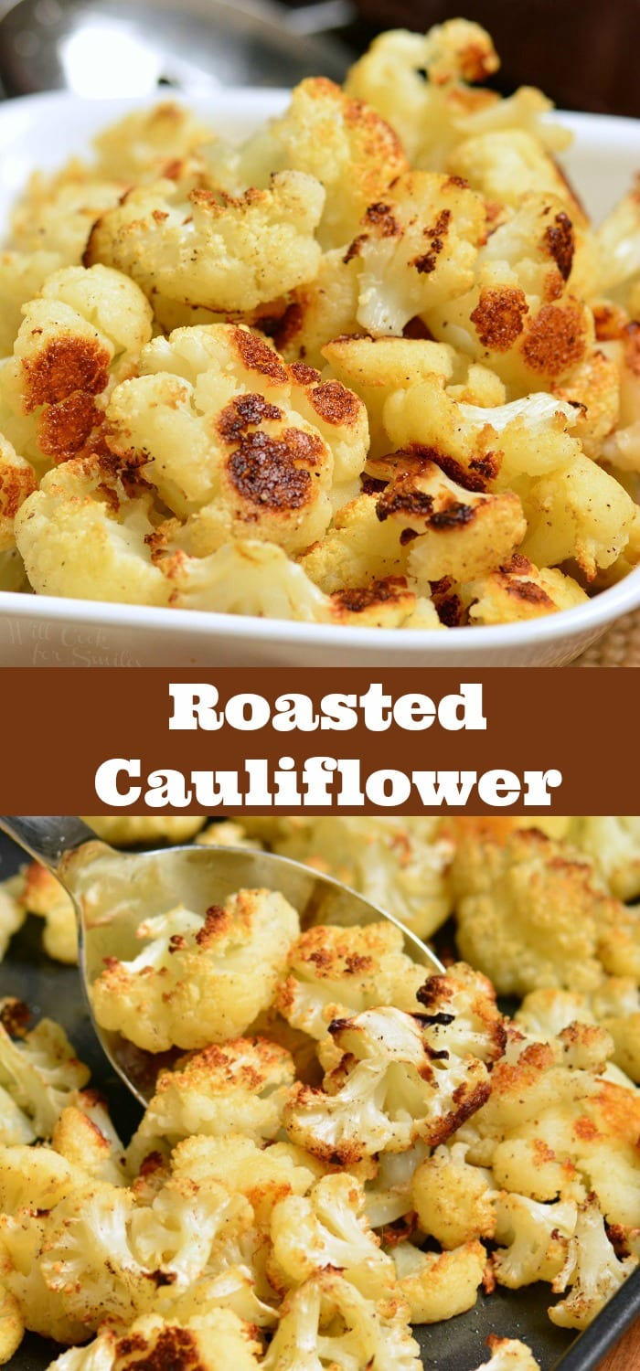 Roasted cauliflower is a wonderful easy side dish that tastes great with just a few simple ingredients. This side dish is made with only 5 ingredients and will take about 30 minutes. #cauliflower #sidedish #sides