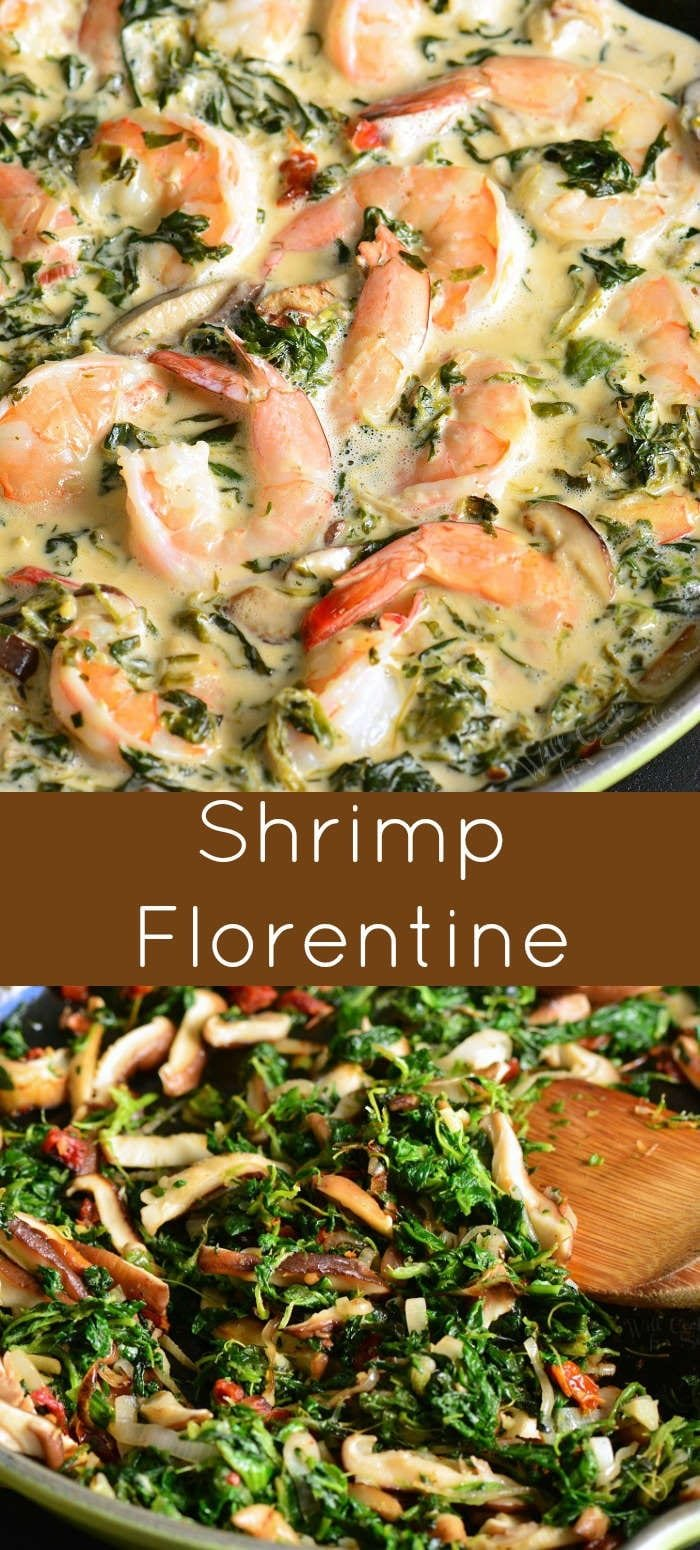 Shrimp Florentine is a fast and easy shrimp dinner recipe that features juicy shrimp cooked with spinach, mushrooms, shallots, sun-dried tomatoes, and white wine cream sauce. #shrimp #dinner #easydinner #30minute #seafood