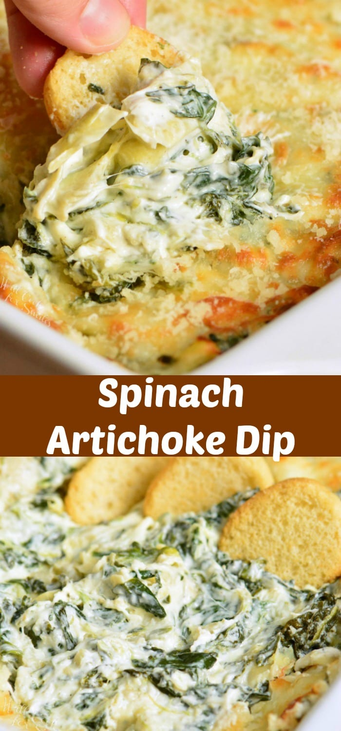 Spinach Artichoke Dip is a classic appetizer that everyone will love. Creamy, cheesy dip made with spinach, artichoke hearts, cream cheese, Mozzarella cheese, Parmesan cheese, and a few other flavorful ingredients. #dip #appetizer #cheesedip #spinachdip #spinachartichoke