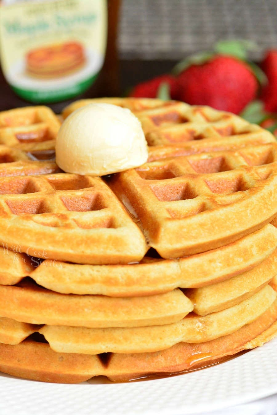 Buttermilk Waffles Recipe. These waffles are soft and fluffy on the inside and crunchy on the outside. A perfect way to start the day. #waffles #breakfast