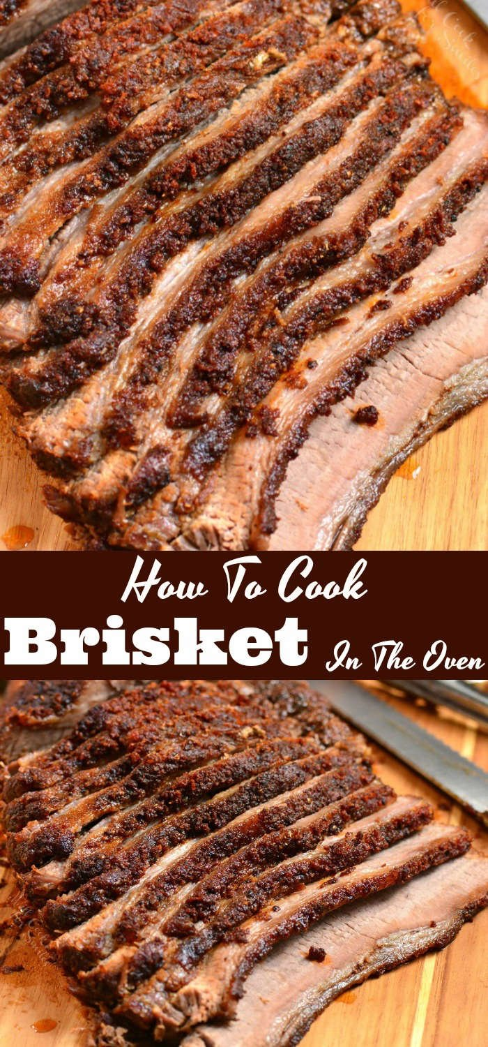 Beef Brisket Cooked In The Oven. Juicy beef brisket is rubbed with an amazing dry rub and baked in the oven until tender. #beef #brisket #dinner