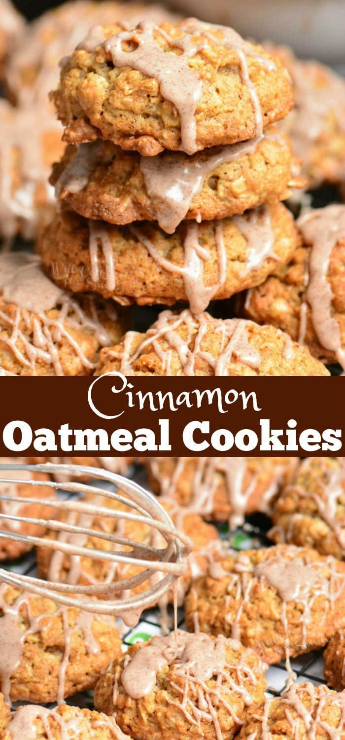 Cinnamon Oatmeal Cookies are soft, chewy, and delicious. This oatmeal cookie recipe is made with old fashioned oats and flavored with cinnamon and cinnamon glaze on top. #cookies #oatmealcookie #oat #glazed #cinnamon #dessert