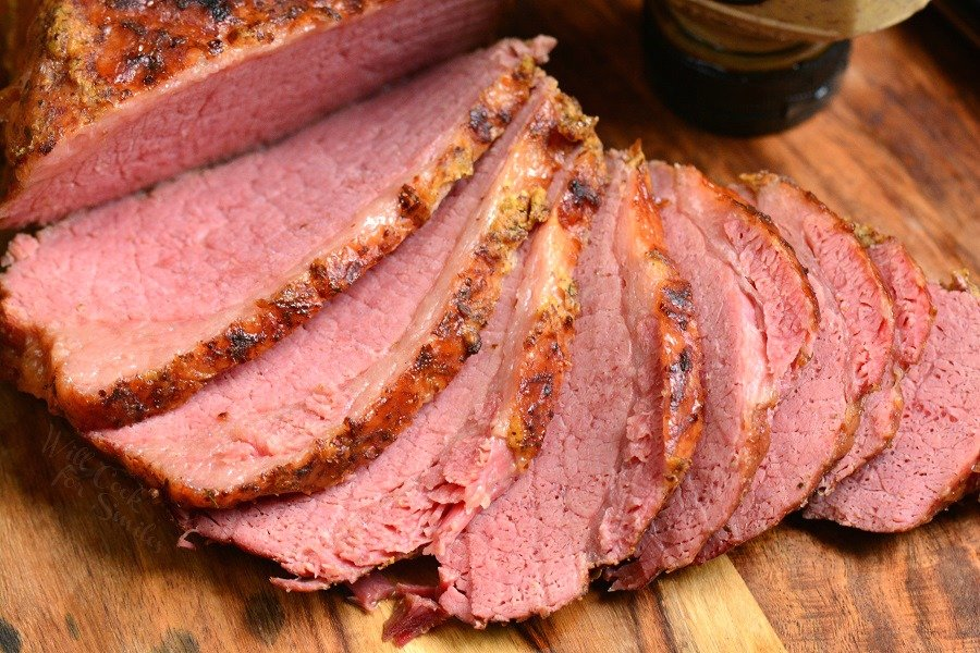 Corned Beef in Instant Pot. Soft, juicy, and tender corned beef brisket made in an Instant Pot and finished off with spicy mustard under a broiler. Making corned beef brisket in an Instant Pot is so easy and only takes about an hour and a half.This corned beef is so tender, it falls apart in your hands. #beef #cornedbeef #brisket #dinner #instantpot