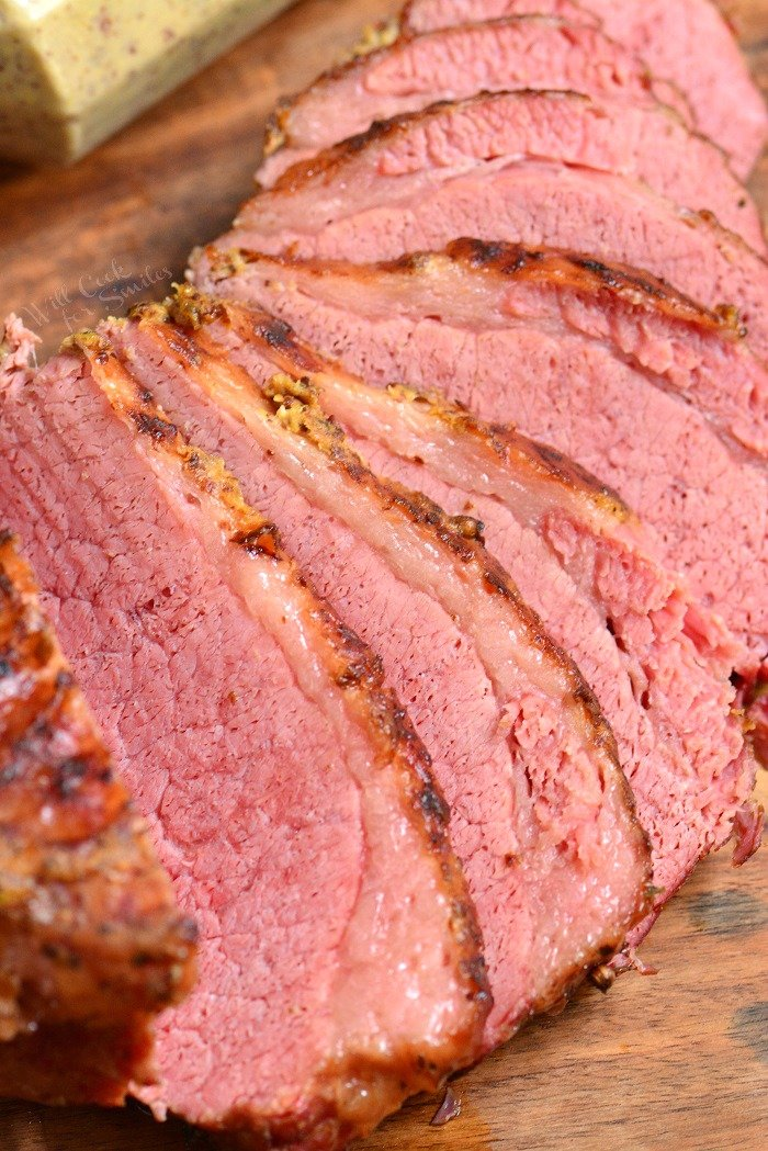 Corned Beef Brisket in Instant Pot. Soft, juicy, and tender corned beef brisket made in an Instant Pot and finished off with spicy mustard under a broiler. Making corned beef brisket in an Instant Pot is so easy and only takes about an hour and a half.This corned beef is so tender, it falls apart in your hands. #beef #cornedbeef #brisket #dinner #instantpot