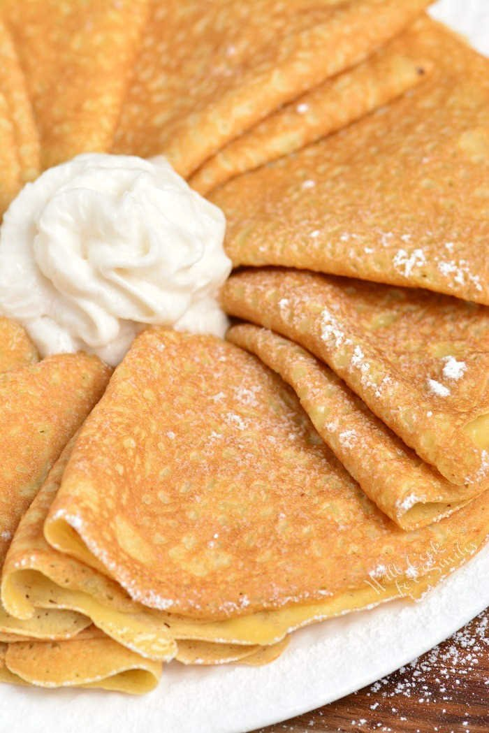 Crepe are delicately soft with a little crunch on the ends. Learn how to make these soft and buttery classic Crepes in no time and a few simple ingredients. #crepes #breakfast #dessert #crepesrecipe