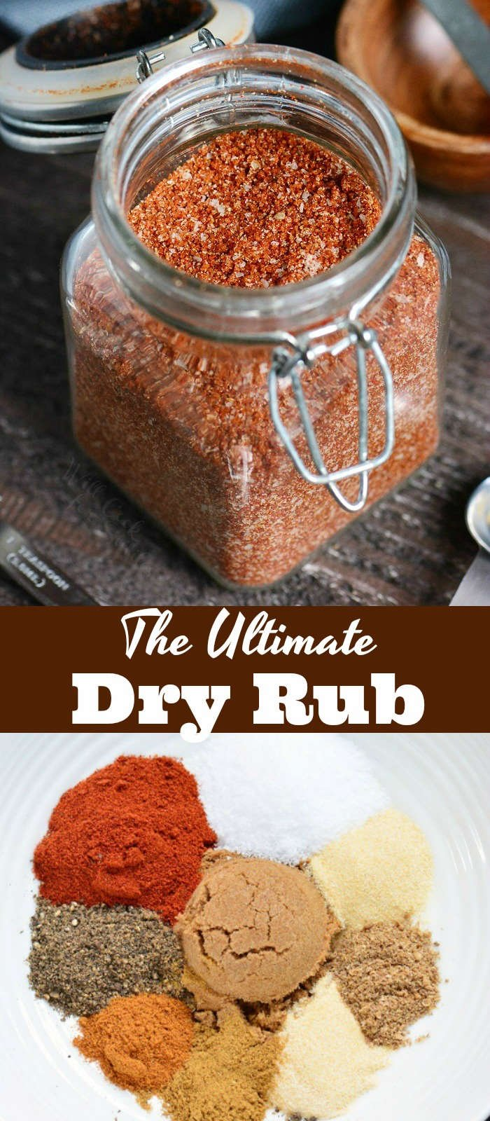 The Ultimate Dry Rub recipe picture collage top picture spices in jar bottom picture spices in a bowl