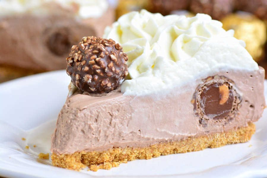 Nutella No Bake Cheesecake on a plate