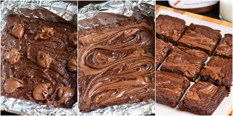 Steps for making Nutella brownies