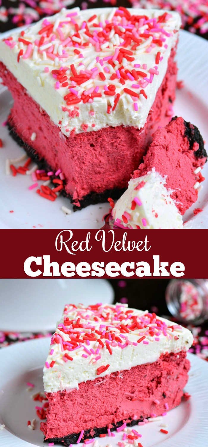 Red Velvet Cheesecake. This luscious cheesecake is inspired by a traditional red velvet cake and made with buttermilk, vinegar, cocoa powder, and topped with cream cheese frosting. #cheesecake #redvelvet #dessert #frosting