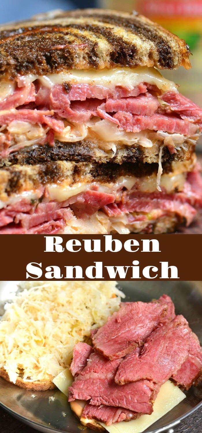 Reuben Sandwich recipe. Perfect combination of warm corned beef, melted Swiss cheese, sauerkraut, Thousand Island dressing, and crunchy rye bread. #cornedbeef #reuben #sandwich #grilledcheese