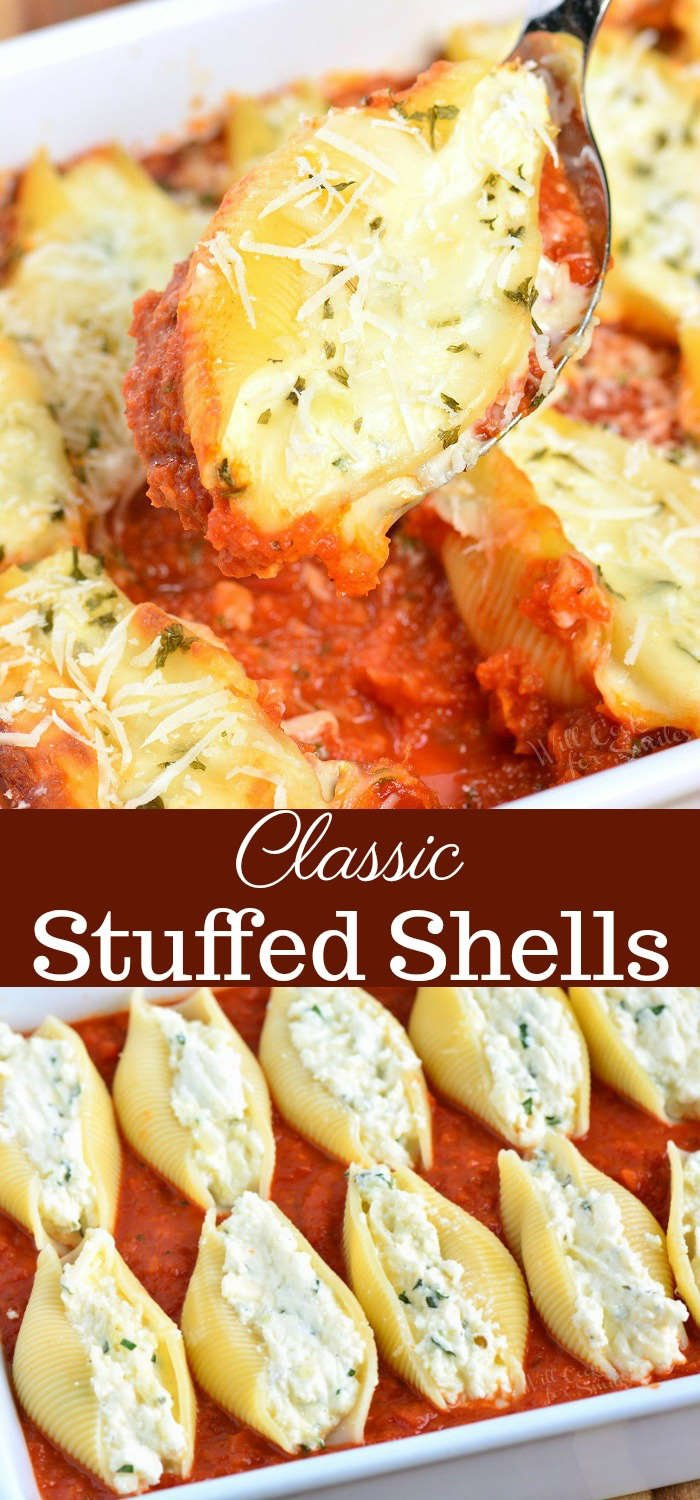 Classic Ricotta Stuffed Shells made with flavorful three cheese ricotta filling and homemade marinara sauce. This stuffed shells recipe is extra cheesy and made with fresh herbs and garlic flavors. #pasta #stuffedshells #meatless #ricotta