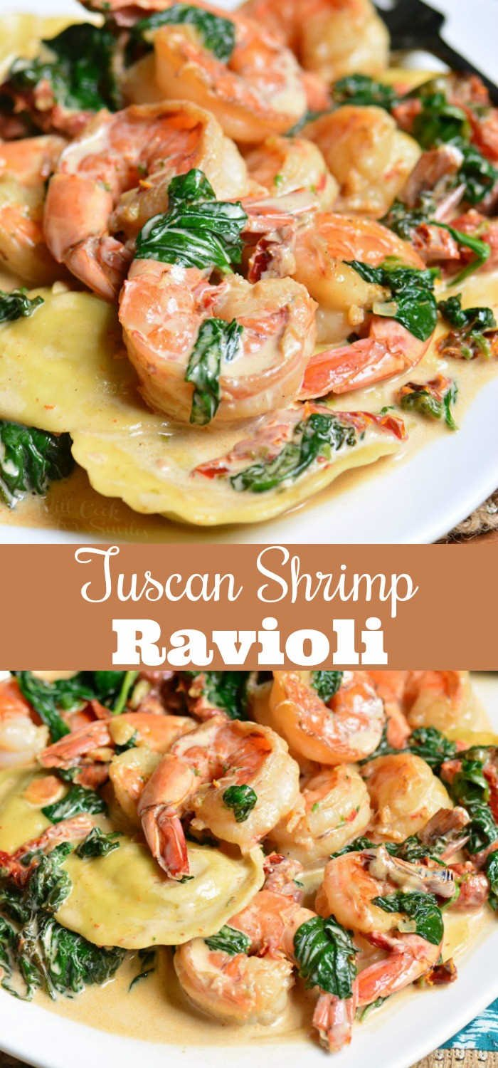 Creamy Tuscan Shrimp Ravioli. Easy and comforting dinner that takes less than 30 minutes to prepare. Juicy shrimp is cooked with garlic, spinach, sun-dried tomatoes, and cream. #shrimp #ravioli #dinner #seafood #easydinner #30minute