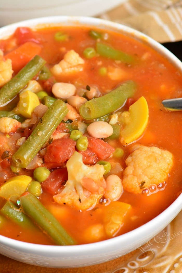 vegetable soup with spoon