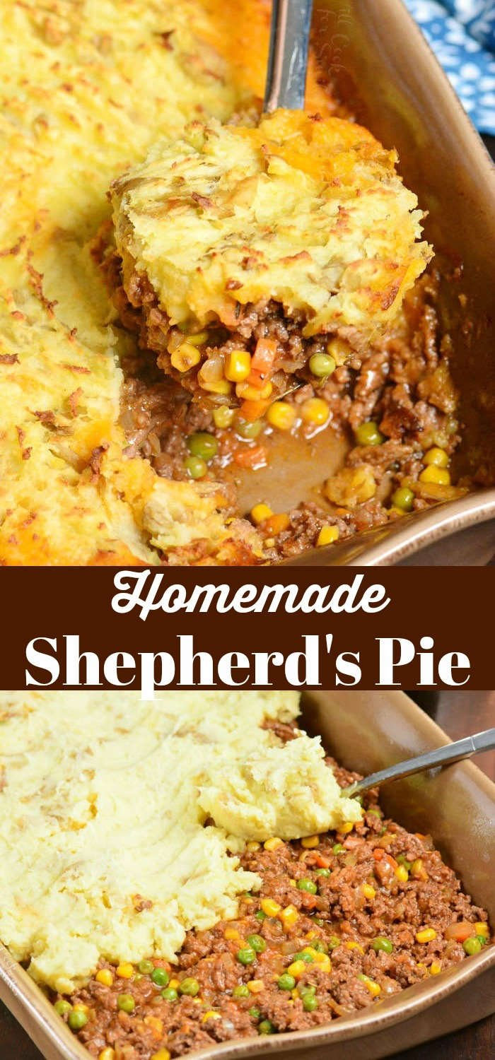 shepards pie collage top picture shepards pie being scooped out of casserole dish bottom picture spreading potatoes on pie in casserole dish