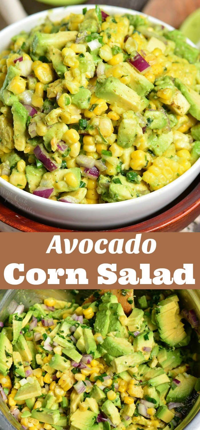 Avocado Corn Salad. This simple salad features corn on the cob, a generous addition of avocado, red onions, scallions, cilantro, and simple seasoning. So much flavor but only a few ingredients. #corn #avocado #cornsalad #avocadosalad #potluck