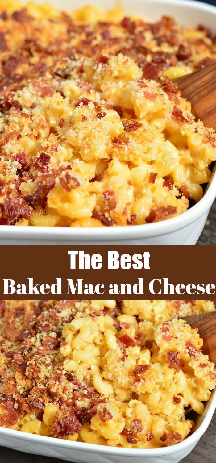 Baked Mac and Cheese collage both pictures are Baked Mac and Cheese in a casserole dish with a wooden spoon