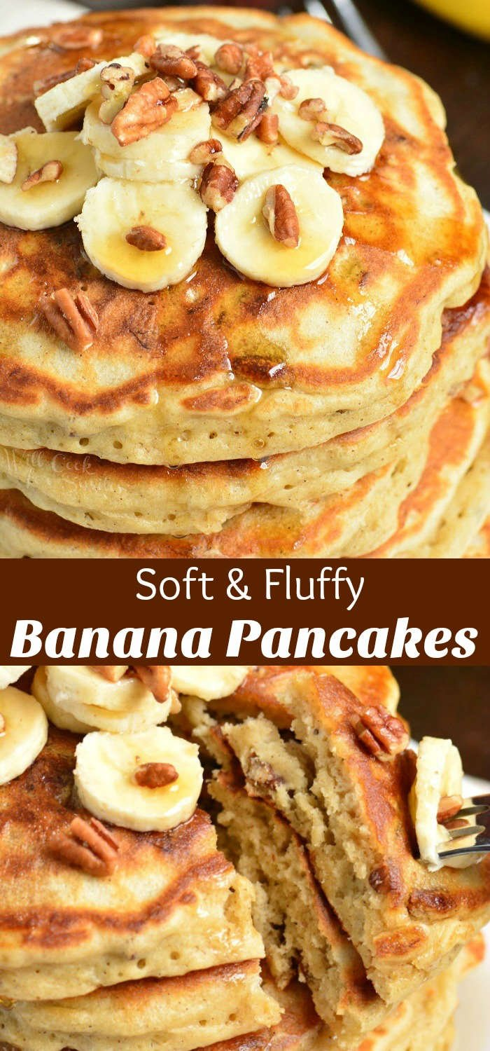 Banana Pancakes. Soft and fluffy pancakes made with mashed bananas, cinnamon, and nuts. Perfect recipe to use up over-ripe bananas. #breakfast #pancakes #banana