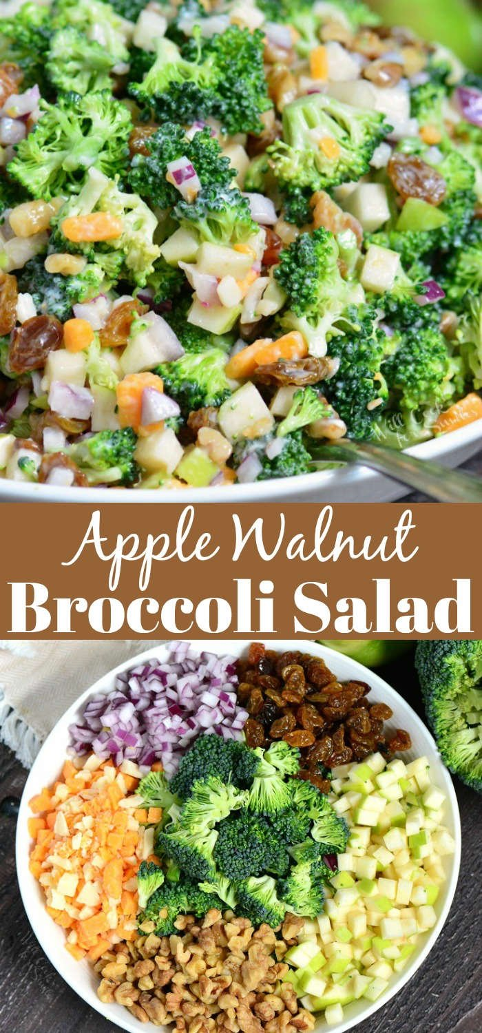 The BEST Broccoli Salad. This broccoli salad is made with apples, walnuts, raisins, cheese crumbles, and red onions. A perfect addition to picnics, potlucks, and outdoor parties. #sidedish #broccoli #potluck #broccolisalad