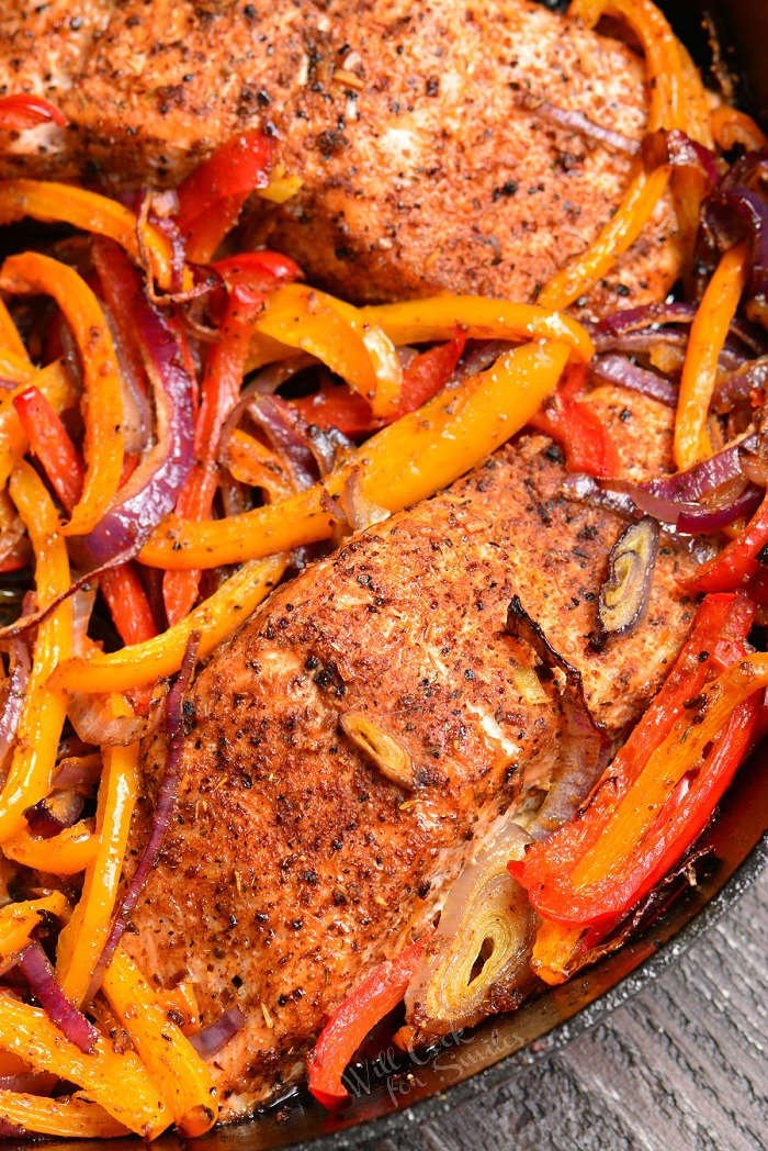 Baked Salmon. Juicy, fresh salmon is rubbed with Cajun seasoning and baked with bell peppers, garlic, and onions. Serve it with roasted vegetables, over fluffy rice, or quinoa.