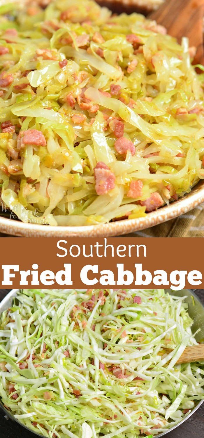 Fried cabbage is a tasty combination of cabbage, leeks, and bacon and simply seasoned with salt and pepper. This simple side dish is done in about 30 minutes. #sidedish #cabbage #bacon #easydinner