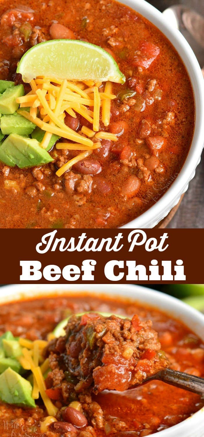 Instant Pot Chili. Delicious Chili made in an Instant Pot with ground beef, beans, veggies, and lots of spices. #easydinner #chili #beef #groundbeef #instantpot