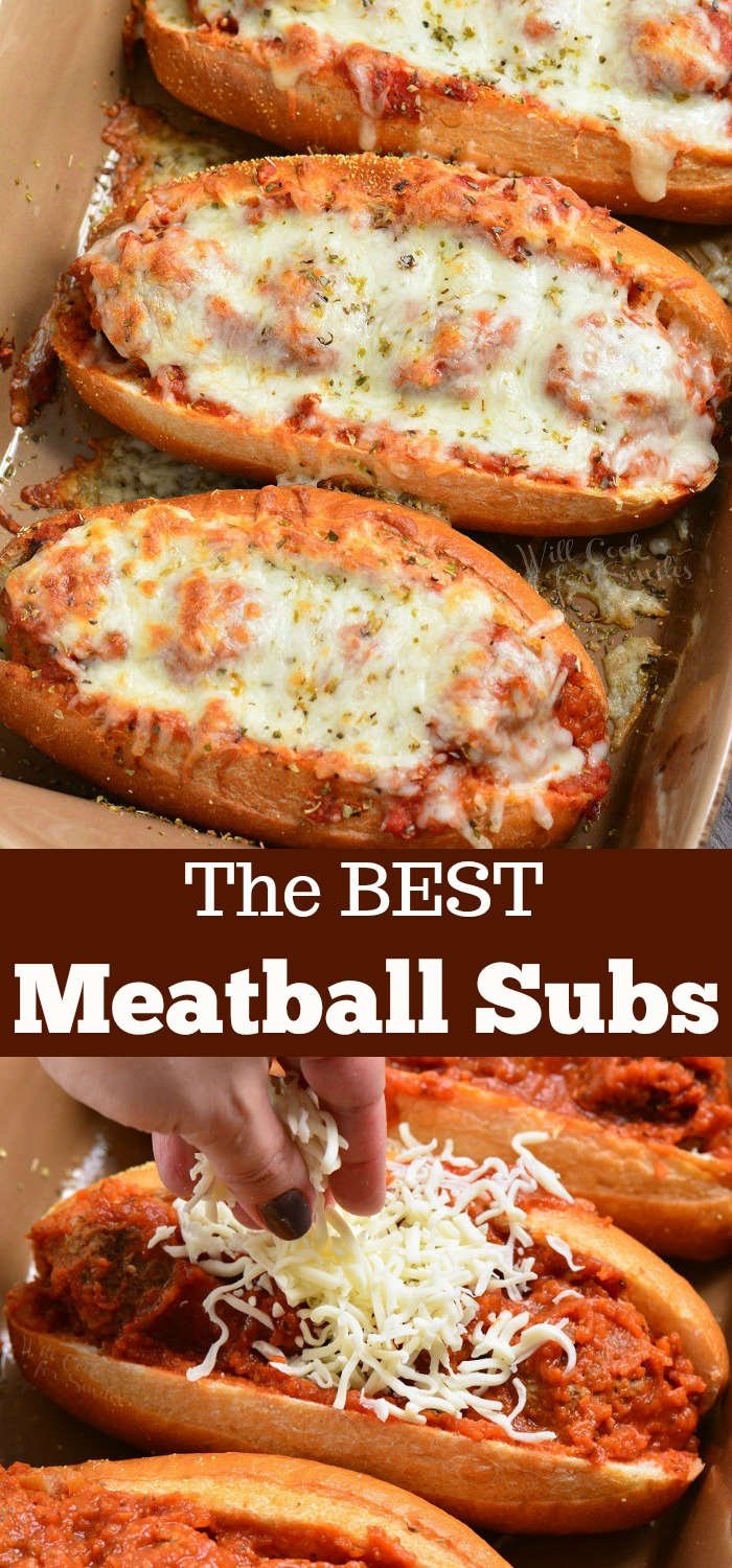 meatball sub collage top picture is meatball subs cooked in casserole dish bottom picture is cheese being put over meatball sub