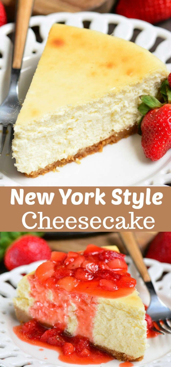 New York Cheesecake Recipe. This cheesecake has a smooth, silky, thick, and creamy texture with a sweet cookie crumble crust. Serve it plain or with strawberry topping. #cheesecake #dessert #strawberry #topping