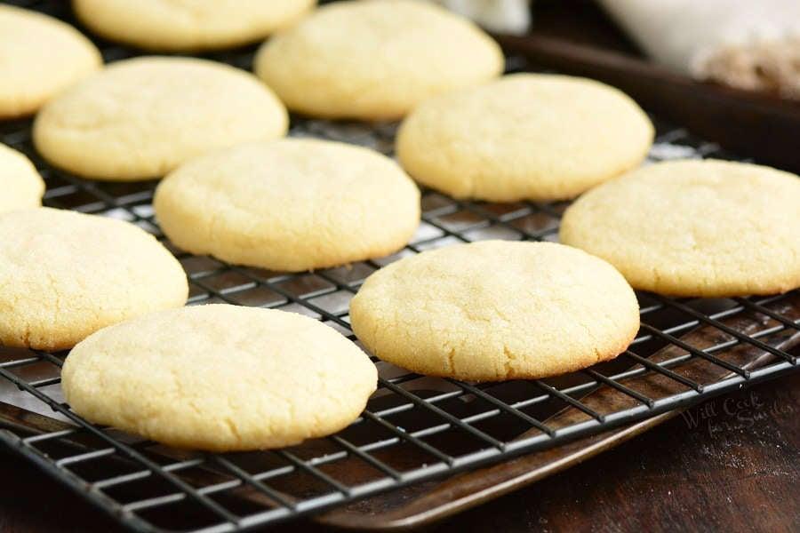 sugar cookies on a cooling rack