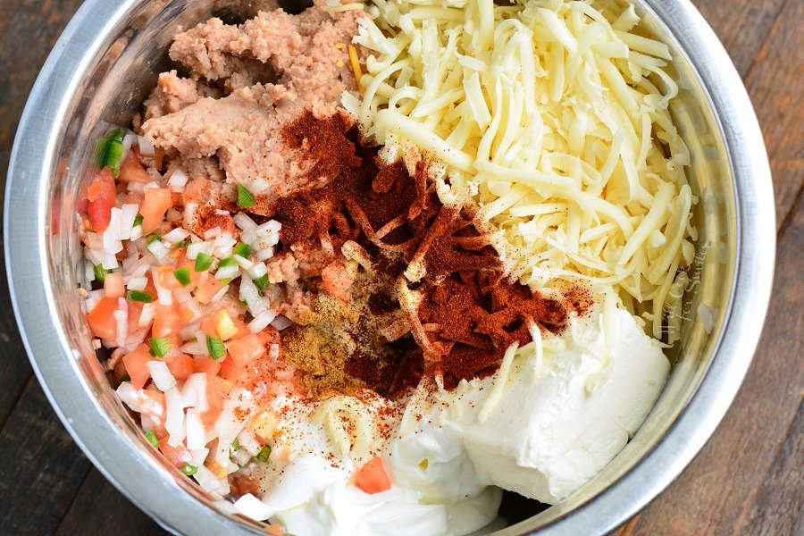 What ingredients go into bean dip in a metal mixing bowl
