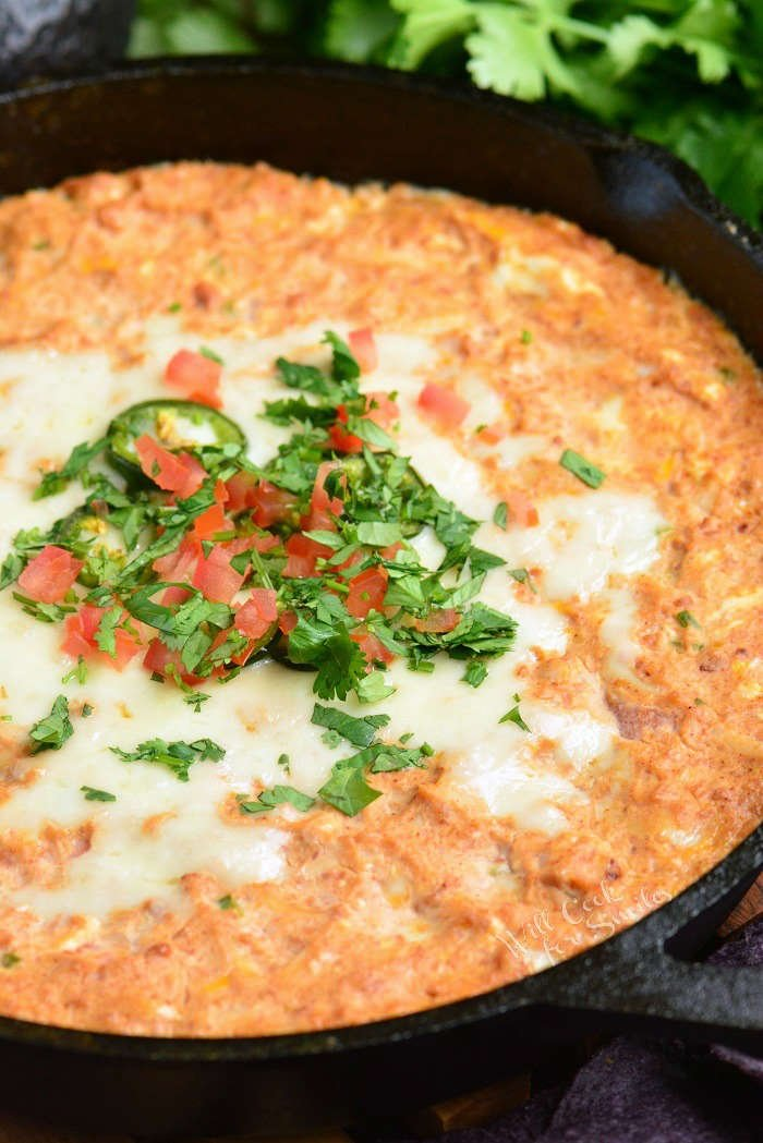 Hot Bean Dip in a cast iron skillet