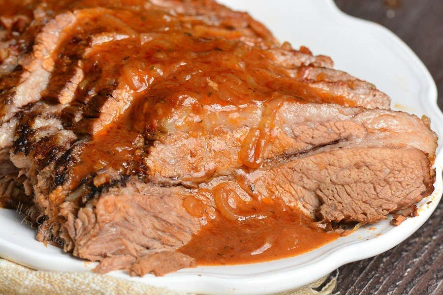 cooked beef brisket on a serving platter