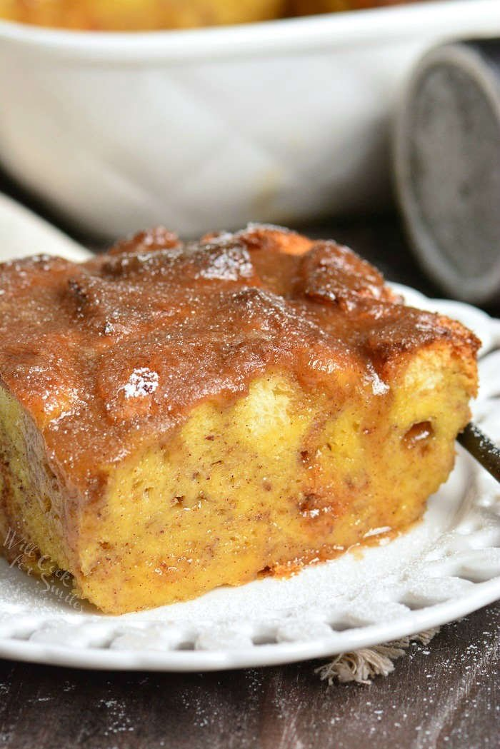 French Toast Casserole is so comforting and made with simple ingredients. Made with Brioche, sweet egg mixture, and topped with an easy sweet cinnamon butter syrup.