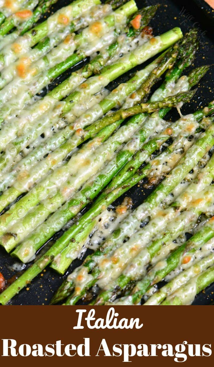 Italian Roasted Asparagus is a simple side dish that will be ready in less than 20 minutes. It's made with addition of Italian flavors like oregano, parsley, and Parmesan cheese. #sidedish #sides #asparagus #roasted #parmesan