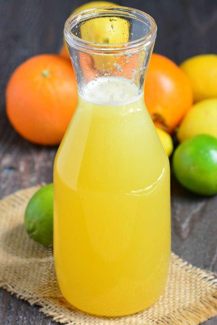 margarita mix in a tall slim glass jar