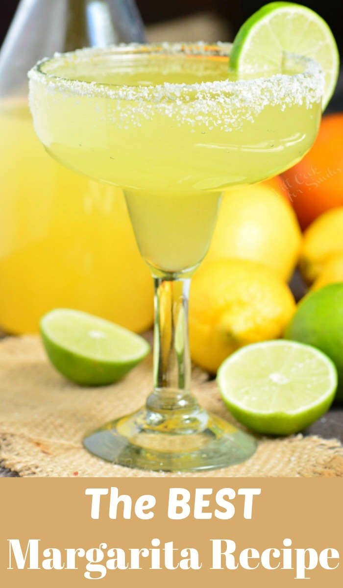 The Best Margarita Recipe made with a simple mixture of homemade margarita mix, tequila, and orange liqueur. Refreshing cocktail that can be made ahead of time. #margarita #drink #cocktail #tequila #margaritamix