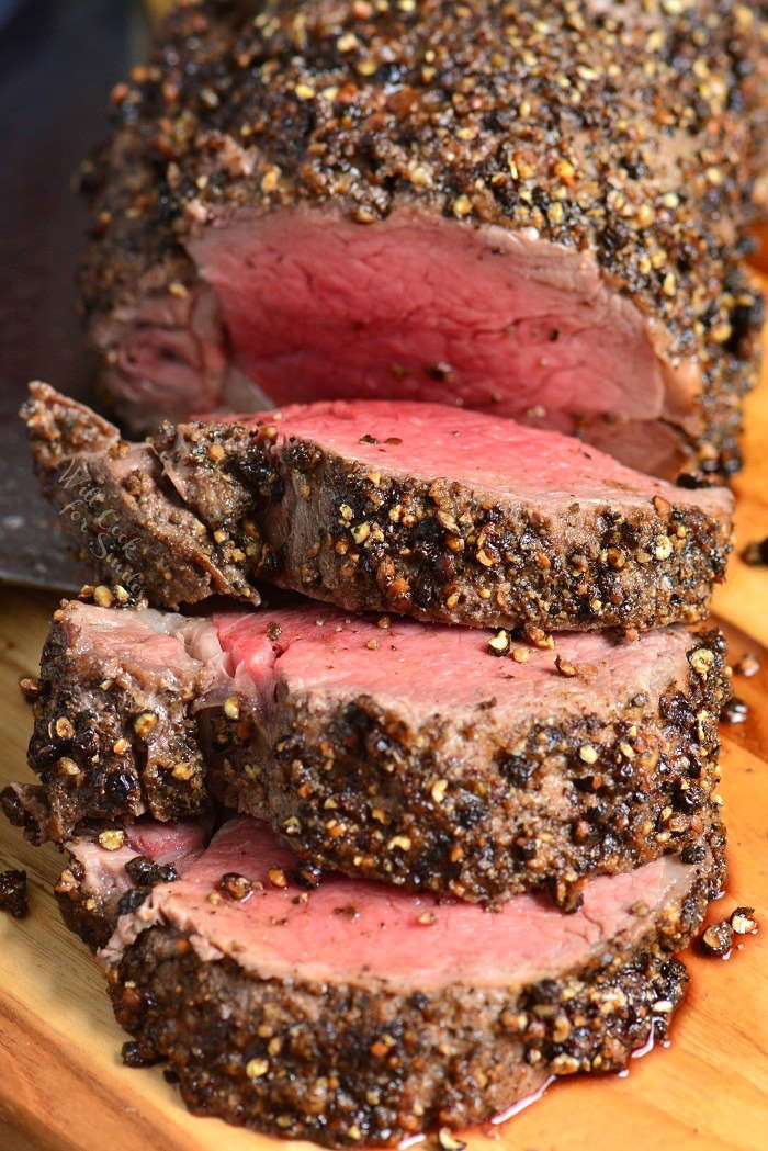 Pepper Crusted Beef Tenderloin is easily made by roasting it in the oven and the tenderness can't be beat. It is so tender, you can just cut it with a fork.