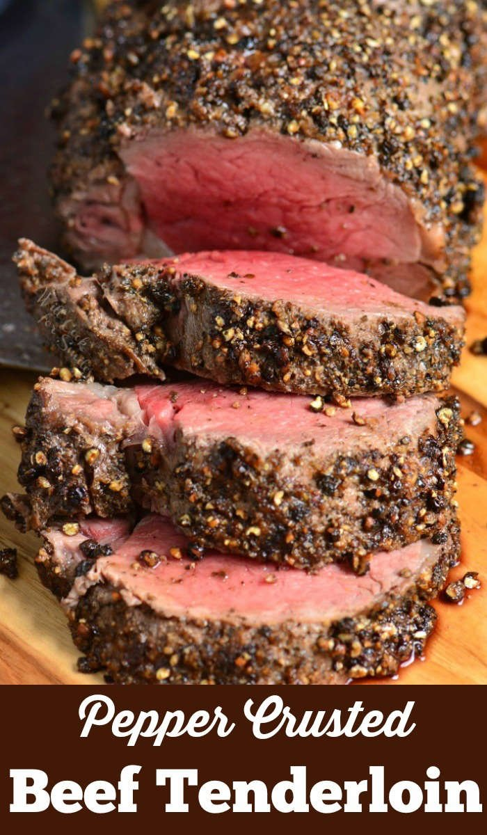 Pepper Crusted Beef Tenderloin is easily made by roasting it in the oven and the tenderness can't be beat. It is so tender, you can just cut it with a fork.  #beef #tenderloin #intheoven #dinner
