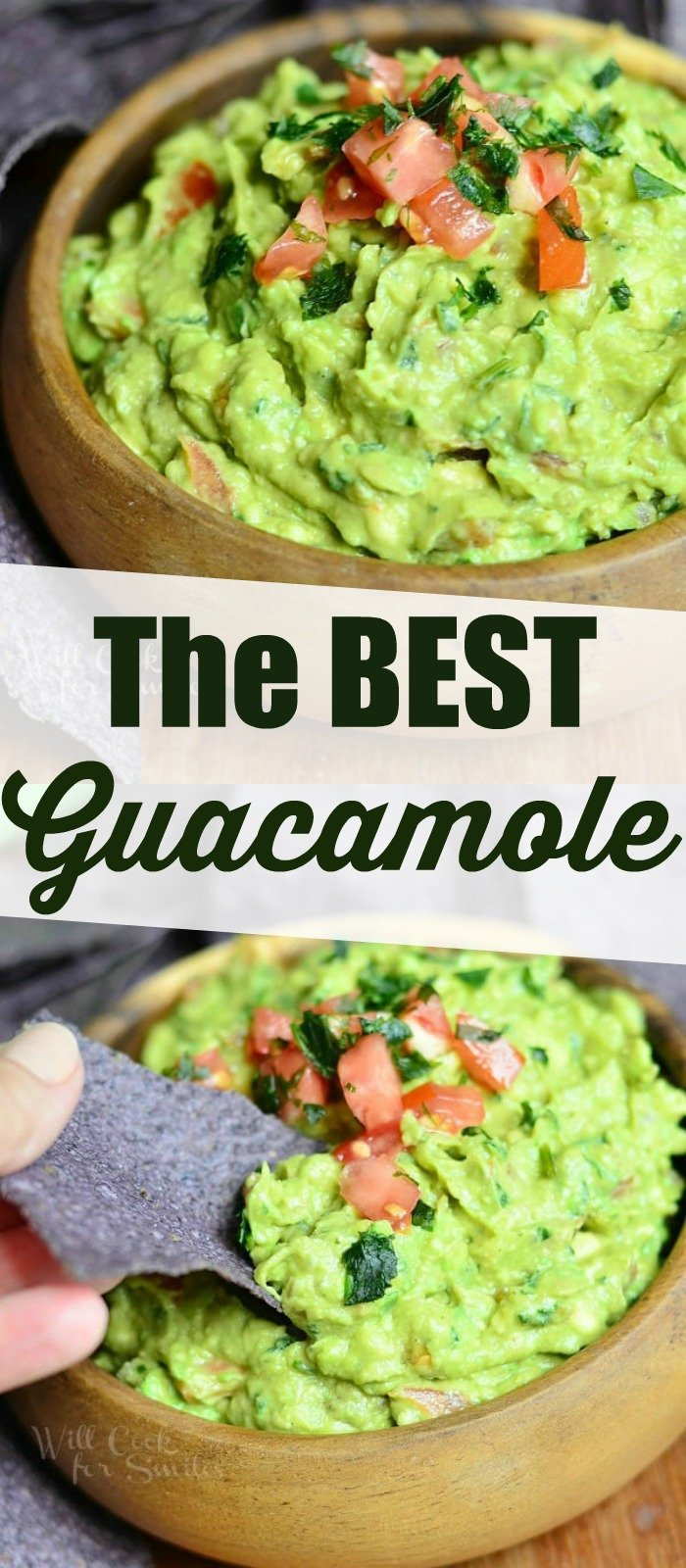 collage of two photos of guacamole in a bowl and scooping guacamole with words in the middle