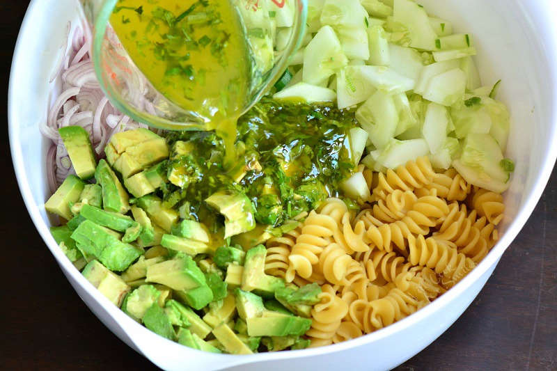 avocado pasta salad with cilantro lime dressing